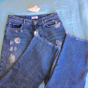F21 Wide Leg High Waist Distressd Sailor Cut Jeans